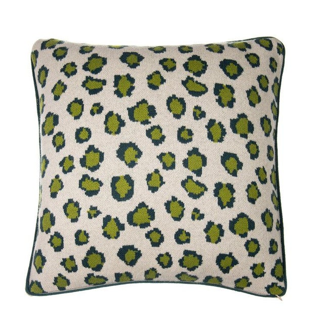 Contemporary Leopard Cashmere Pillow, Green For Sale - Image 3 of 3
