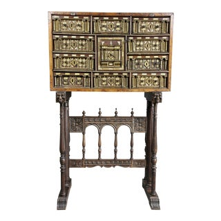 Spanish Baroque Giltwood and Bone Inlaid Vargueno For Sale