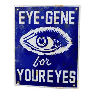 """Vintage Enamel """"Eyegene"""" Sign"""