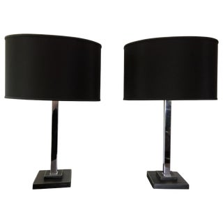 Pair of Chrome and Stitched Leather Table Lamps by Nessen For Sale