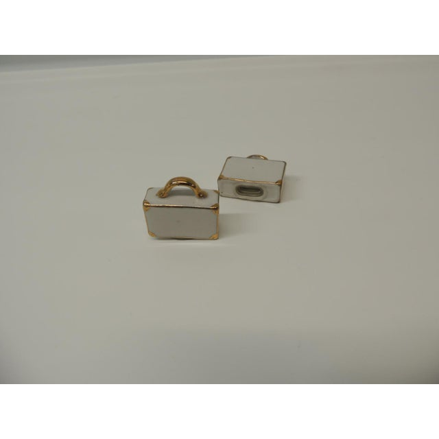 Boho Chic Pair of White and Gold Bisque Porcelain Trendy Handbags Salt and Pepper Shakers. For Sale - Image 3 of 5