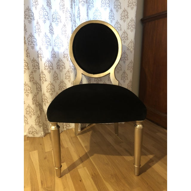 Wood Schnadig Caracole Accent Chair in Black Velvet For Sale - Image 7 of 7