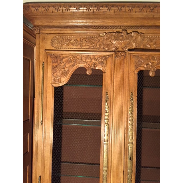 19th Century French Carved 2 Door Chicken Wire Vitrine For Sale - Image 4 of 12