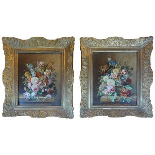 1920's Antique French Floral Oil Paintings - A Pair For Sale