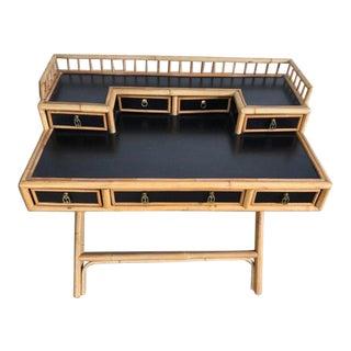 Vintage Hollywood Regency E. Murio Rattan Bamboo Desk For Sale