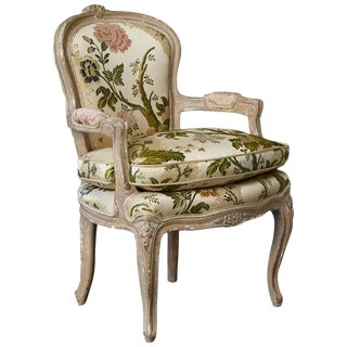 French Louis XV Style Painted Child's Fauteuil in Flower Chintz Fabric from ABC For Sale