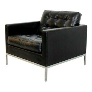 Mid Century Modern Florence Knoll Chrome Cube Black Tufted Leather Armchair For Sale