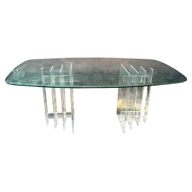 Lucite Sculptural Base Dining Table - Image 1 of 6