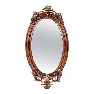Fine Mahogany Wood Framed Victorian Hanging Mirror For Sale