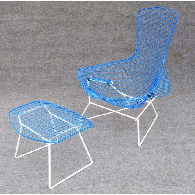 "Blue Mid-Century Modern ""Bird"" Chair & Ottoman For Sale - Image 8 of 10"