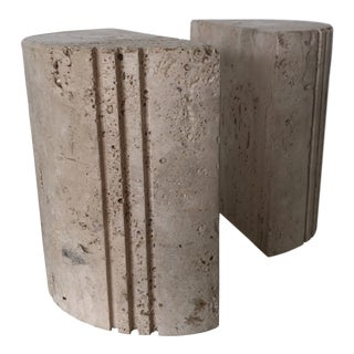Flli Mannelli for Raymor Italian Travertine Sculpted Modern Bookends - a Pair