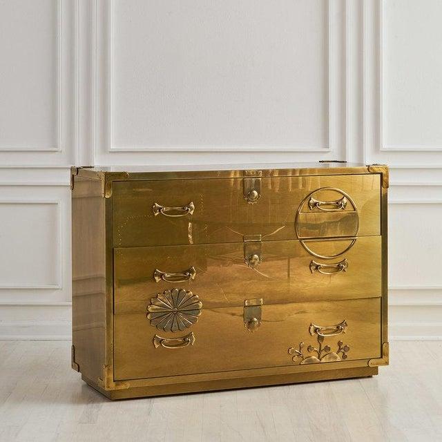 Brass Brass Clad Three Drawer Dresser by Mastercraft For Sale - Image 7 of 7