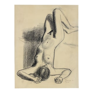 Reclining Female Nude 1920s-1930s Pastel For Sale
