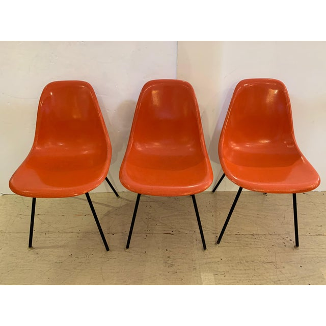 Set of 3 Bright Orange Mid Century Modern Shell Eames Chairs For Sale - Image 13 of 13