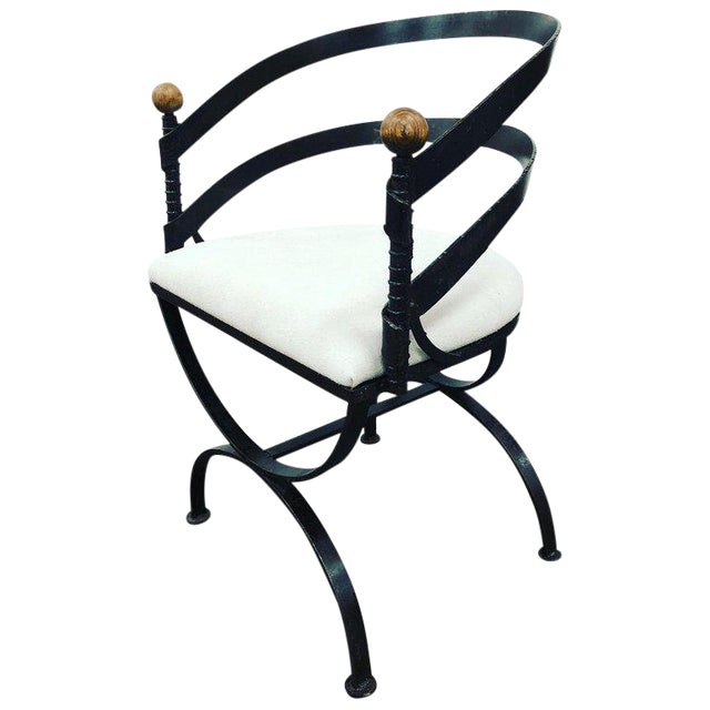 Mid-Century Iron and Suede Side Chair by Adrian Pearsall For Sale