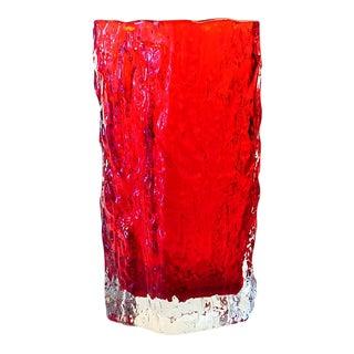 Mid 20th Century Vintage Iittala Tapio Wirkkala Red Ice Bark Crystal Vase For Sale