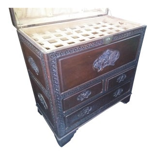 20th Century Chinese Hand Carved Chinese Storage Chest W/ Drawers For Sale