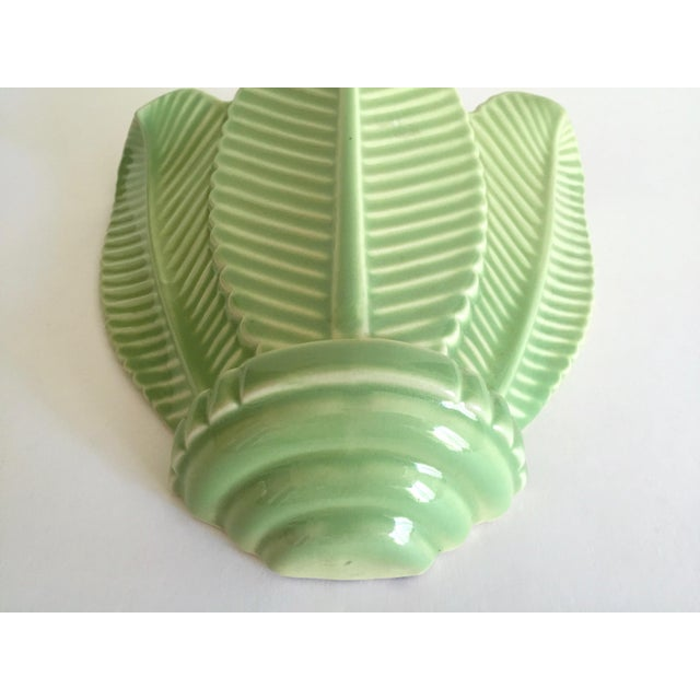 Vintage Mid Century Art Deco Pistachio Mint Green Art Pottery Palm Leaf Ceramic Wall Pocket Vase For Sale - Image 11 of 13