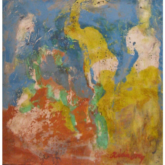"Fry Fresco ""Venus and the Clown"", Contemporary Blue and Yellow Figurative Painting For Sale"