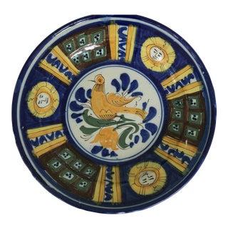 Large Majolica Bird Sun Plate- Bowl For Sale