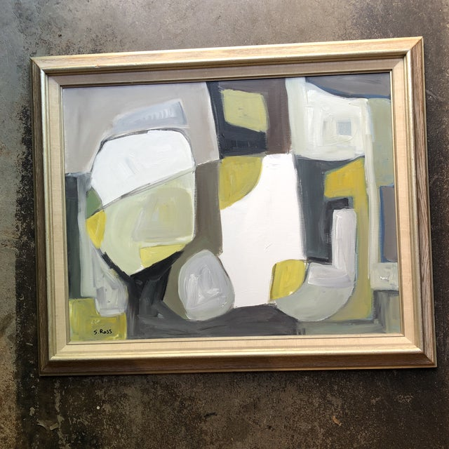 Canvas Original Contemporary Abstract Modernist Stewart Ross Painting Framed For Sale - Image 7 of 7