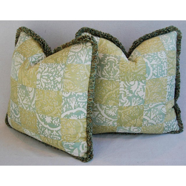 """21"""" Custom Italian Fortuny Piazzetta & Boucher Feather/Down Pillows - Pair - Image 8 of 10"""