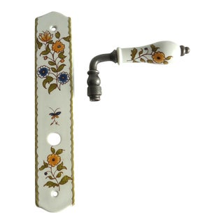 Vintage Limoges French Country Floral Door Knob For Sale