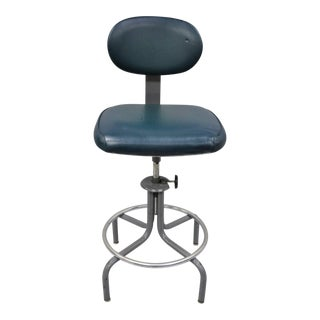 Inter Royal Corp Vintage Industrial Machinist Blue Vinyl Metal Work Chair Stool