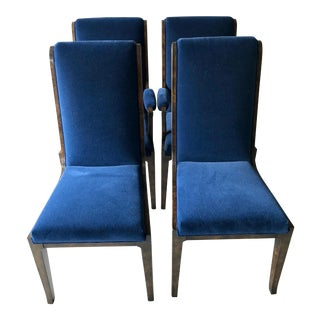 Mid-Century Modern Blue Velvet Dining Chairs - Set of 4 For Sale