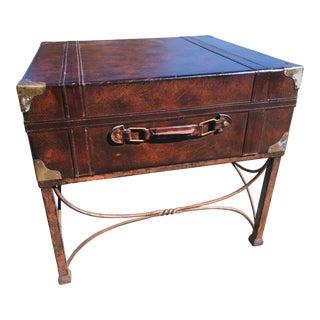Vintage Leather Clad Side Table For Sale