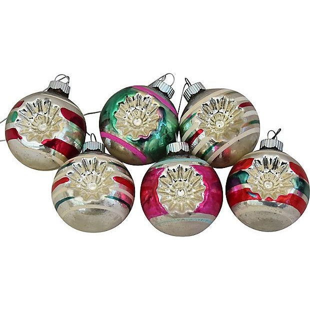 1960s mid century retro christmas ornaments wbox set of 12 for sale