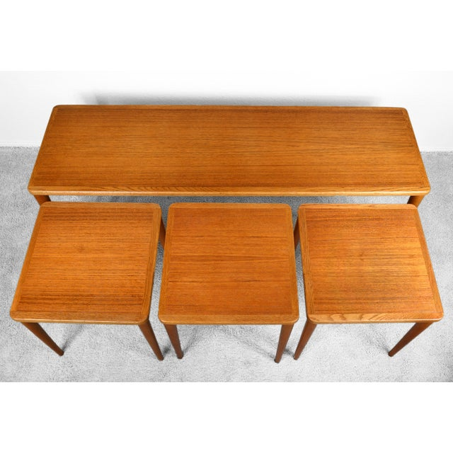 Dux of Sweden 1960s Teak Coffee Table With Three Nesting Tables - 4 Pieces For Sale - Image 9 of 13