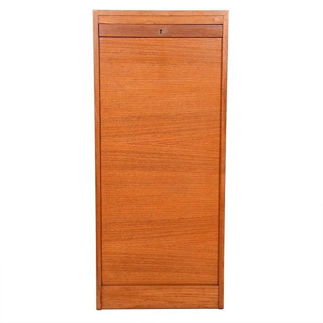 Danish Modern Danish Teak Locking Tambour Door Filing Cabinet For Sale - Image 3 of 9