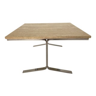 Travertine and Steel Cocktail Table For Sale