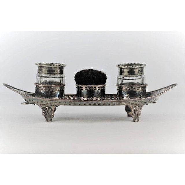 Traditional Silver Double Inkwell with Pen Brush For Sale - Image 3 of 11