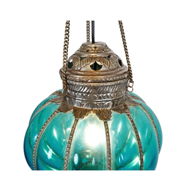 Vintage style India glass pumpkin lantern. Traditional Rajasthani style colorful hanging lantern with nickel accents and...