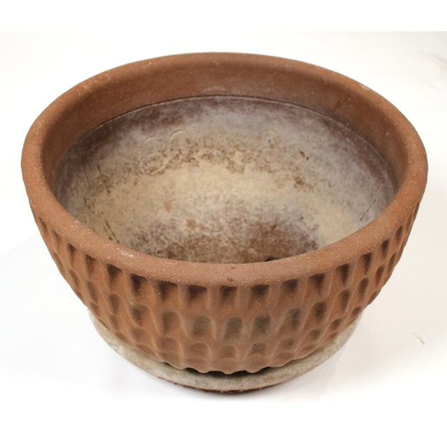Brown Stan Bitters Ceramic Thumb Pot Planter for Hans Sumpf With Original Saucer For Sale - Image 8 of 8
