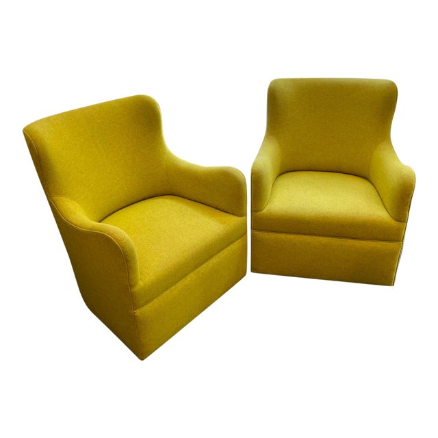 Lee Industries Swivel Arm Chairs in Chartreuse - A Pair For Sale
