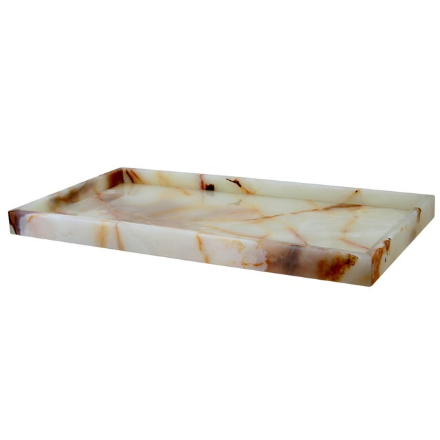 A Myrtus Collection Light Green Onyx Large Amenity Tray.