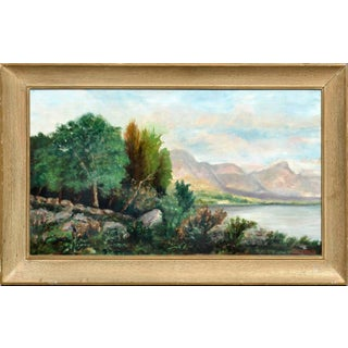 Early 20th Century Mountain Lake Landscape Oil Painting Attributed to Joseph Kleitsch, Framed For Sale