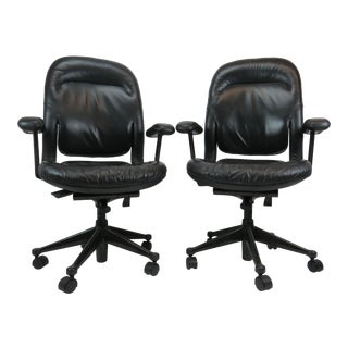 Late 20th Century Vintage Herman Miller Black Leather Office Chairs - a Pair For Sale