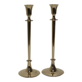 Mid-Century Polished Brass Candlesticks Candleholders - a Pair For Sale