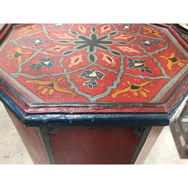 Wood Pair of Hand-Painted Moroccan Pedestal Octagonal Shape Table With Moorish Arches For Sale - Image 7 of 13
