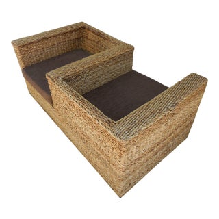 1980s Contemporary Woven Rattan Tete a Tete For Sale