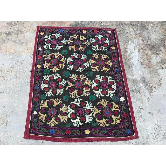 Dark Gray Floral Pattern Antique Suzani Textile - Image 2 of 6