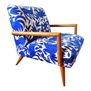 Mid-Century Modern Otomi Hand Embroidery Cobalt Blue Lounge Chair For Sale