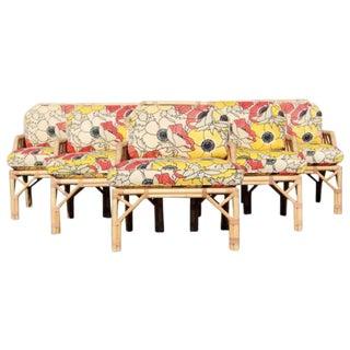 Set of 5 1970s Mid-Century Modern McGuire Bamboo Rattan Dining Armchairs