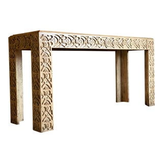20th Century Boho Chic Minton-Spidell Hand Carved Wood Console Table For Sale