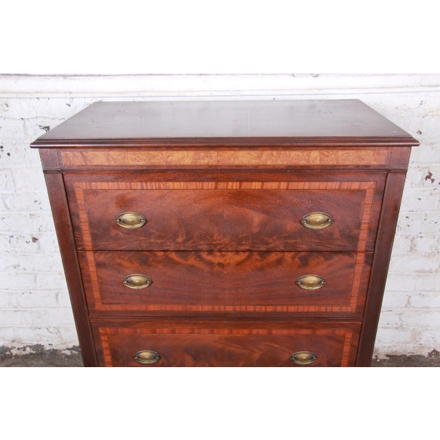 British Colonial Early John Widdicomb Flame Mahogany Highboy Dresser, Circa 1920s For Sale - Image 3 of 13