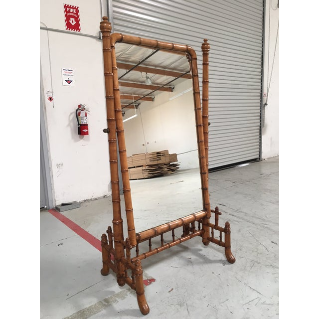 """Boho Chic English Antique Faux Bamboo Cheval """"Psyche"""" Mirror For Sale - Image 3 of 7"""